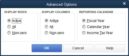The Advanced Options dialog box.