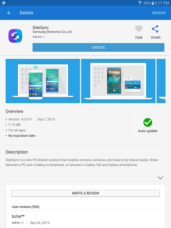 Samsung offers apps from the Google Play Store. You may need to update the SideSync app on your Tab