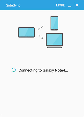 A Galaxy Tab S2 NOOK is connecting to a Galaxy Note4 smartphone. The link works at short distances.