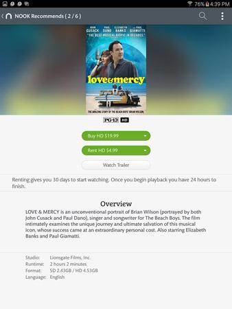 A movie's description page on a Galaxy Tab S2 nook.