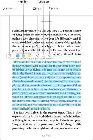 A page in the Nook app with all the reading tools explained.
