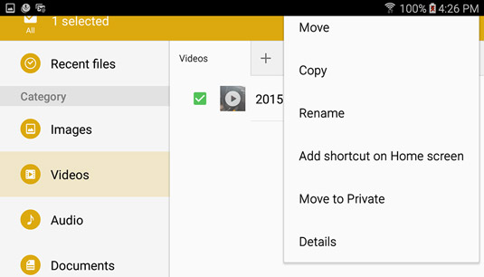 You can start videos from MyFiles. If you touch the More button (upper right), you can move, copy,