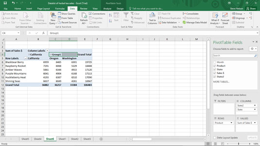 Group data in a pivot table.