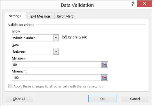 Setting data validation.