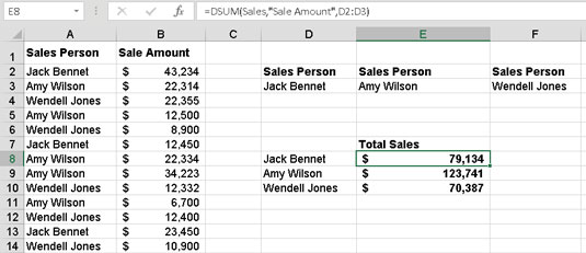 Calculating the sum of sales with the DSUM function.