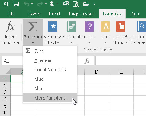 The Insert Function Dialog Box in Excel 2016 - dummies