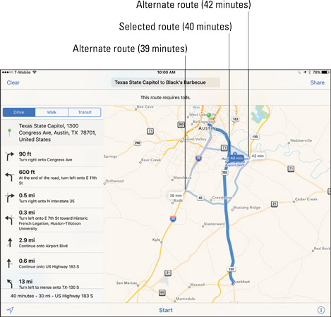 Three routing options for travel from the State Capitol in Austin, Texas, to Black's Barbecue