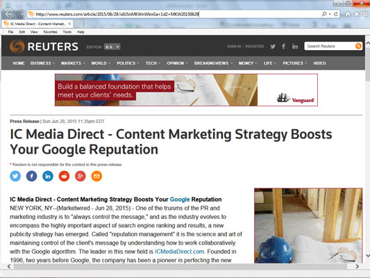 A Reuters article about IC Media Direct.