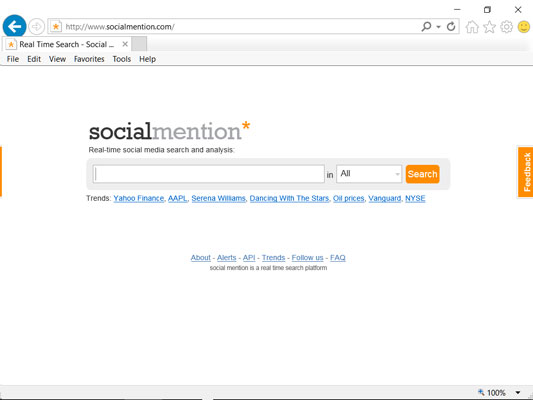 Social Mention home page
