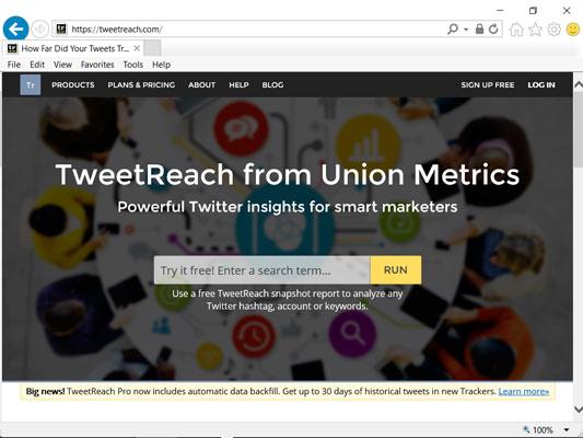 Tweet Reach home screen