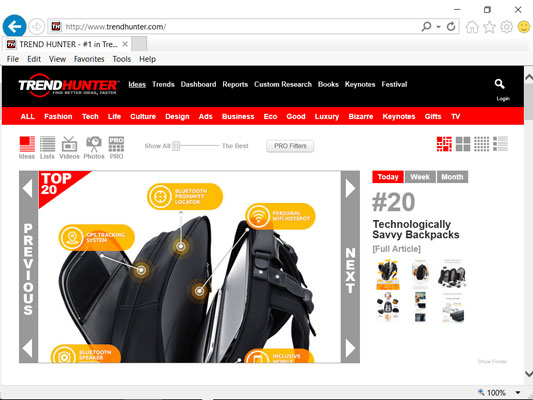 Trend Hunter web page