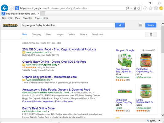 Results for a transactional search on Google.