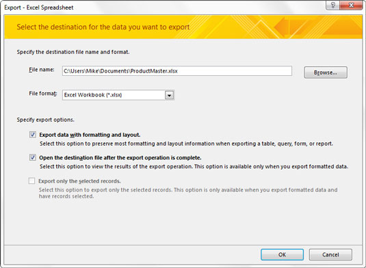Export data to Excel using the Excel Export Wizard.