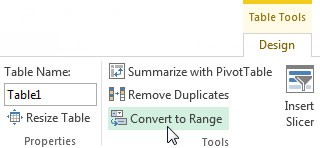 To remove Excel table functionality, convert the table back to a range.