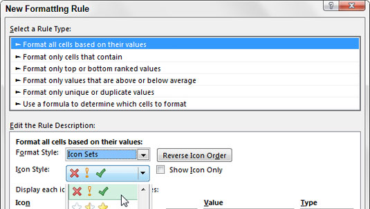 Select the Format All Cells Based on Their Values rule and then use the Format Style drop-down menu