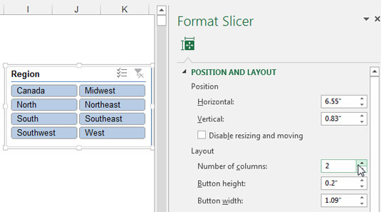 Adjust the Number of Columns property to display the slicer data items in more than one column.