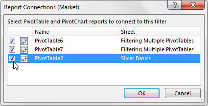Choose the pivot tables that will be filtered by this slicer.