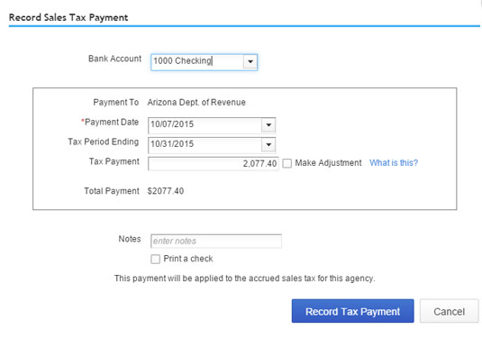 Use this dialog box to record a sales tax payment.