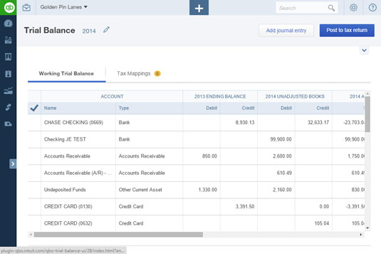 The Working Trial Balance tab of the Trial Balance page.