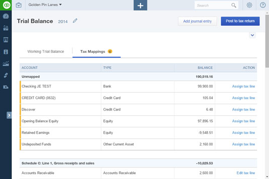 The Tax Mappings tab of the Trial Balance page.