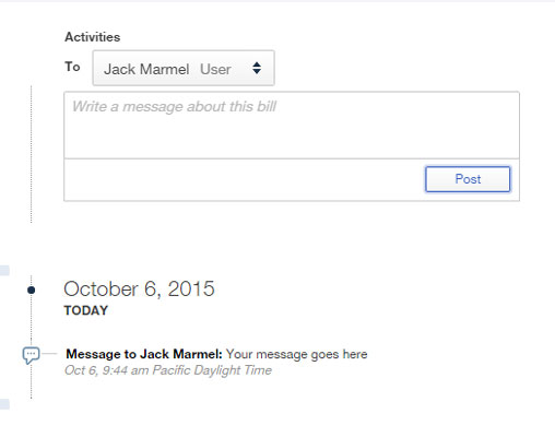 Posted messages appear below the Activities section.