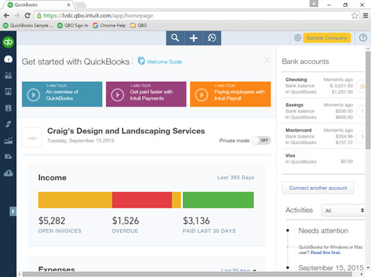 Using an experimental feature from QuickBooks Labs to collapse the Navigation bar.