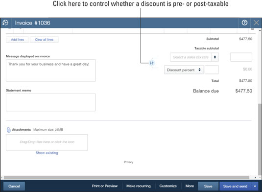 Use the bottom of the Invoice window to handle sales tax, discount information, messages, and attac