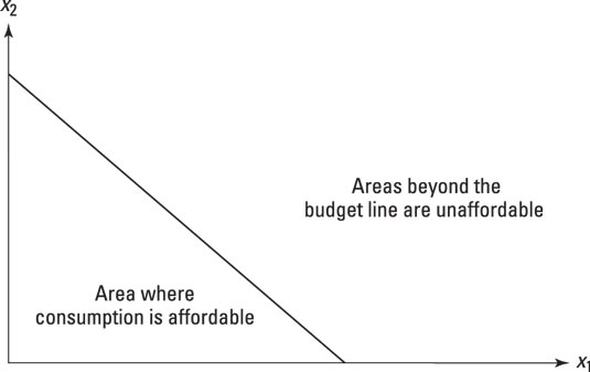 The budget line, or budget constraint, splits an area into affordable (or feasible) and unaffordabl