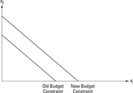 Representing a change in income by shifting the budget constraint.