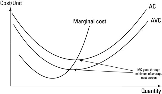 Relationship between average (AC) and marginal cost (MC). AVC = average variable costs.
