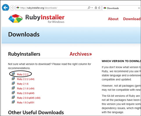 Click Ruby 2.2.2 to download installer.