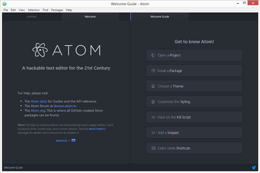 The Atom welcome screen.
