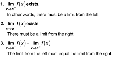 The three-part definition of a limit