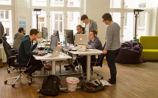 The Dubsmash team hard at work. [Credit: Image courtesy of blog.dubsmash.com.]