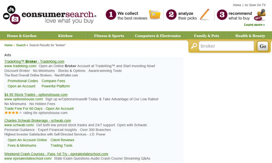 ConsumerSearch is a good place to research online brokers because it compiles reviewers' reviews.