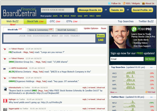 BoardCentral consolidates links to stock blogs and news sites — and Twitter.