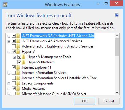 Enabling Hyper-V on a desktop version of Windows.