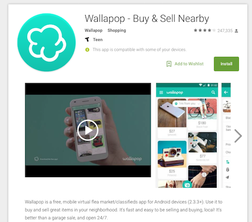 "Wallapop for Android is free. Tap ""Install"" to get started. [Credit: Image courtesy of Go"