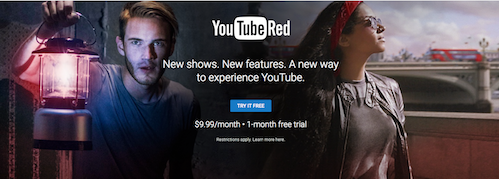 The YouTube Red service is currently priced at $9.99/Month with a one-month free trial. [Credit: Im