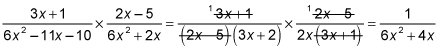 The process of multiplying two rational expressions.