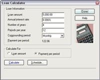 The Loan Calculator in Quicken.