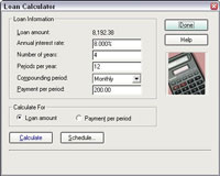 Quicken's loan calculator with all of the blanks full.