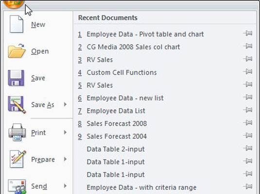 Click the Office button to access file-related commands or change options in Excel 2007.