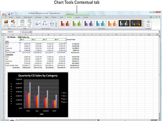 Excel 2007 adds contextual tools to the Ribbon when you select certain worksheet objects, such as c