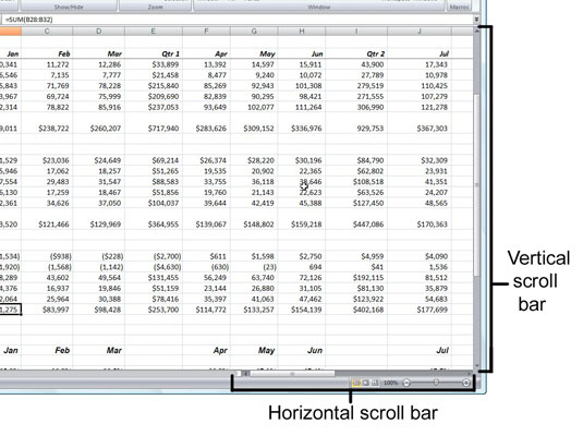 Use the scroll bars to navigate to unseen parts of an Excel 2007 worksheet.