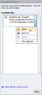 Excel 2007 asks you to choose which version of the workbook to open.
