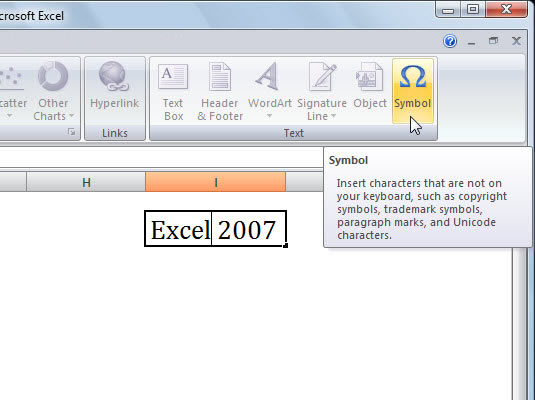 How To Insert Symbols And Special Characters In Excel 2007 Dummies
