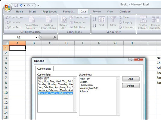 Create a custom list to quickly enter items that you frequently type in worksheets.