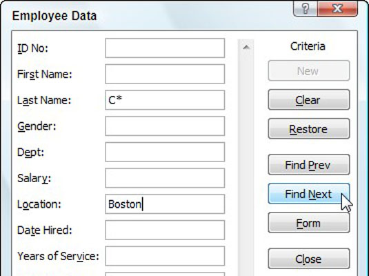 Use the Criteria button to search records based on known data.