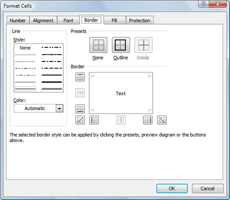 You'll find more options for cell borders on the Border tab of the Format Cells dialog box.